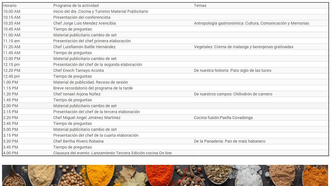 Culinaria 2021 - Programa del Evento